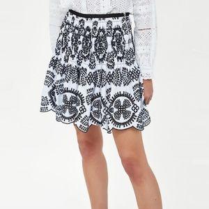 Zara Embroidered Eyelet Mini Skirt
